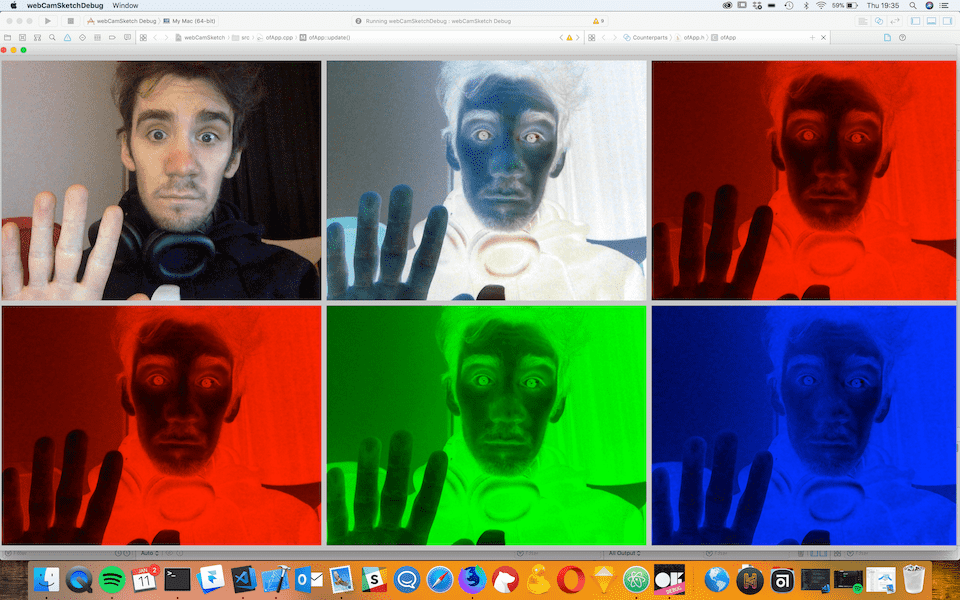 Six inverted images appear of Struan each with a different hue. The first is full colour, the second is inverted, the third is red and inverted, as is the fourth, the fifth is green and inverted and the last is blue and inverted. Struan looks very suprised and is waving.